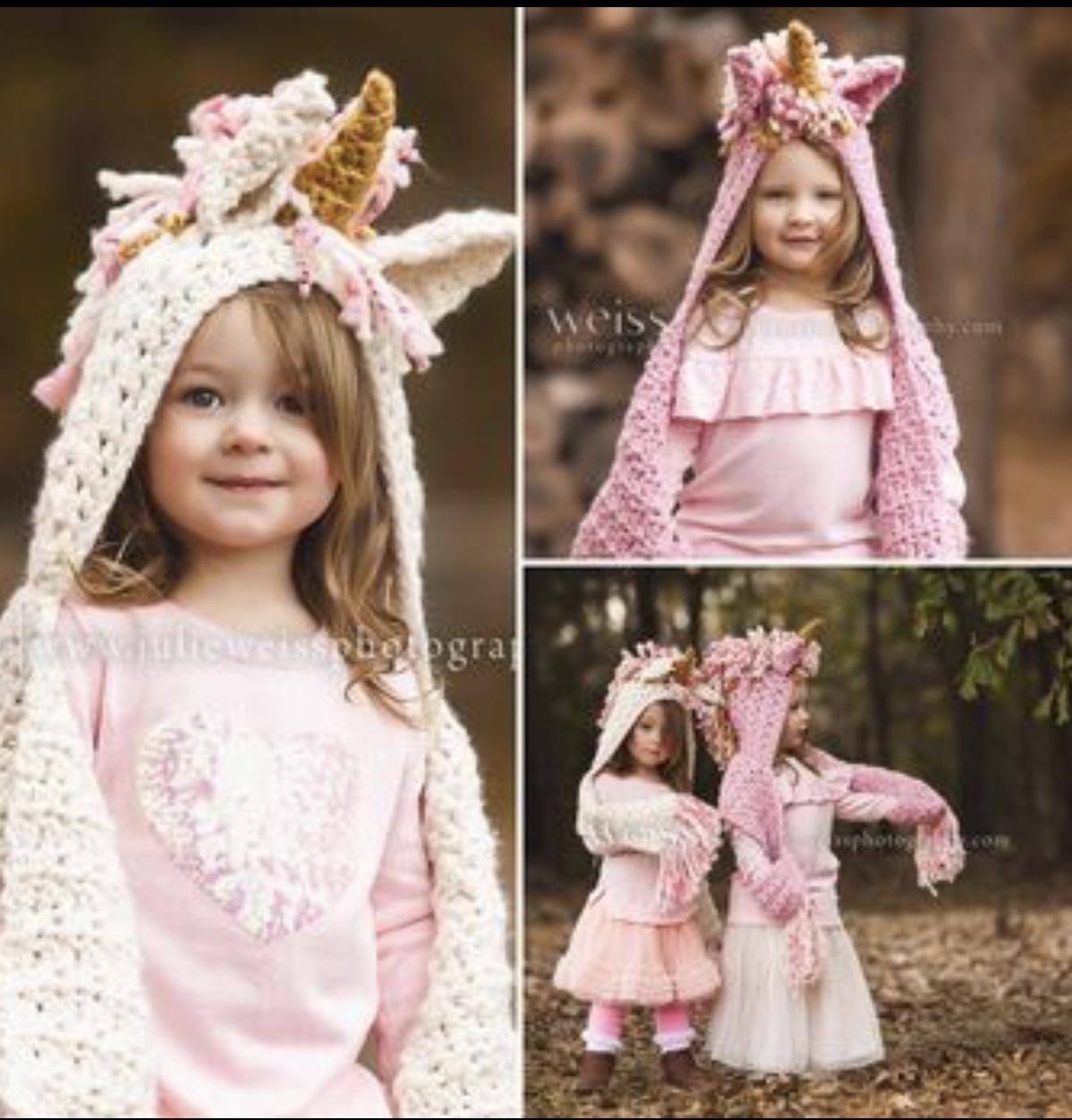 Unicorn Scarf, Hooded Baby Unicorn Gifts, Unicorn Birthday Gift Ideas, Gold Horn