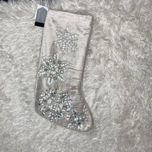 GLITZ & GLIMMER | Silver Iridescent Snowflake Jeweled Christmas Stocking... - $39.59