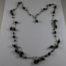 .925 SILVER RHODIUM NECKLACE WITH BLACK ONYX AND GRENADE image 2