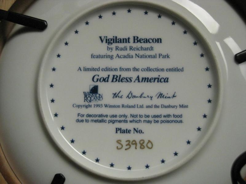 Framed Plate-Vigilant Beacon from God Bless America Series-Danbury Mint image 5