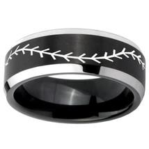 Baseball Design 10mm Black 2 Tone Beveled Tungsten Carbide Engraved Ring - $53.99