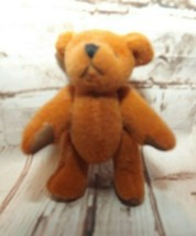 """Russ Berrie Miniature Teddy Bear 2"""" Gold Plush Embroidered Face Moveable... - $6.87"""