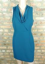 Forever 21 Dark Teal Blue Draped Cowl Scoop Neck Sheath Career Mini Dress S - $7.70