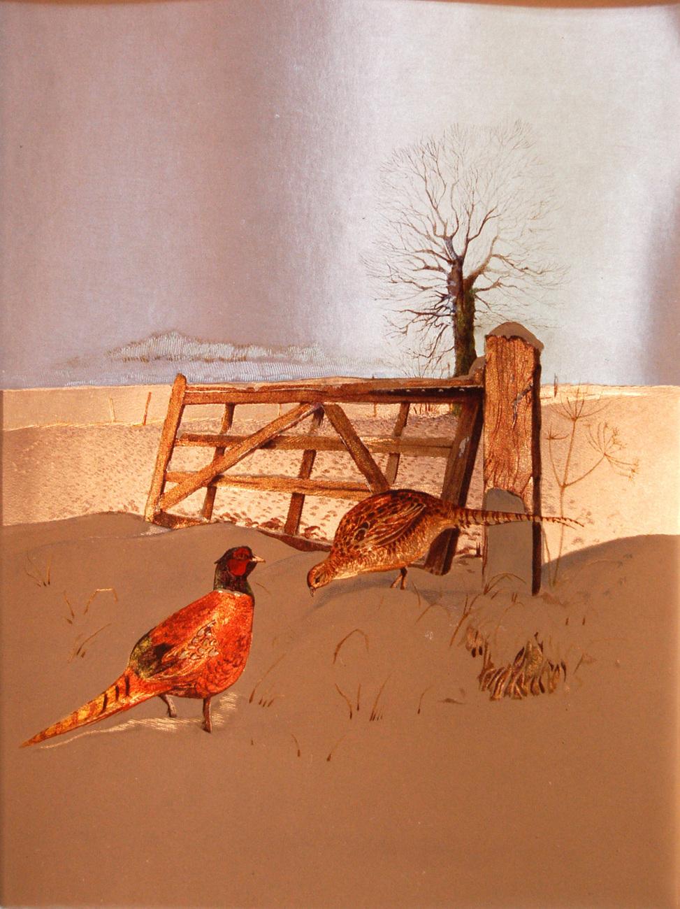 152916 pheasants in snow