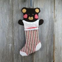 Vintage Teddy Bear Christmas Stocking Plush Handmade Fabric Sewn Calico ... - $69.29