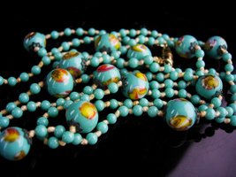 "40"" Flapper necklace / Turquoise glass - hand knotted - beaded necklace ... - $125.00"