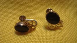 Black Oynx Ear Rings - Gold - Vintage - - $23.99