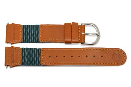 19MM Green Brown Nylon Leather Watch Band - $12.38