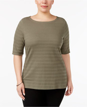Charter Club Elbow-Eleeve Textured Top in Olive Drab, XXL