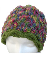 Purple and green multicolor hand knit hat - $24.00