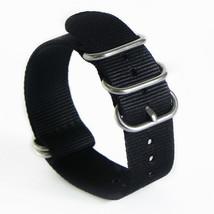 18mm x 255mm Nato Canvas Heavy duty Nylon wrist watch Band strap BLACK - $15.52