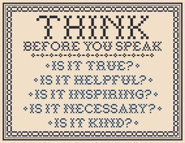 Think Before You Speak traditional PDF cross stitch chart John Shirley designer - $89,02 MXN