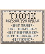 Think Before You Speak traditional PDF cross stitch chart John Shirley d... - $5.00