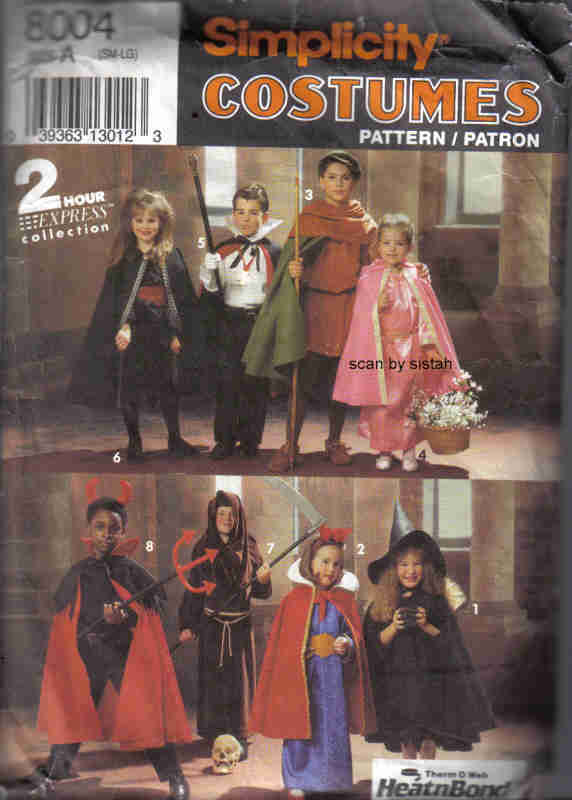 Simplicity 8004 Pattern child S M L Dracula Monk devil witch Riding Hood