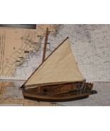 Vintage Hand Made Model  Cat Sail Boat With Oars - $31.68