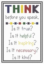 Think Before You Speak bright PDF cross stitch chart John Shirley new de... - $5.00