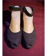 Cherokee Rose Black Peeptoe Ankle Strap Shoes;Sz 7;Crackle Finish ;Vinta... - $9.99
