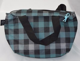 Metropack Gear  Insulated Lunch Tote Blue Black Plaid Lined W/Handles - $11.61