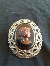 Vintage Signed Miracle Cameo Amber Glass Pin Brooch Also Pendant - $25.00