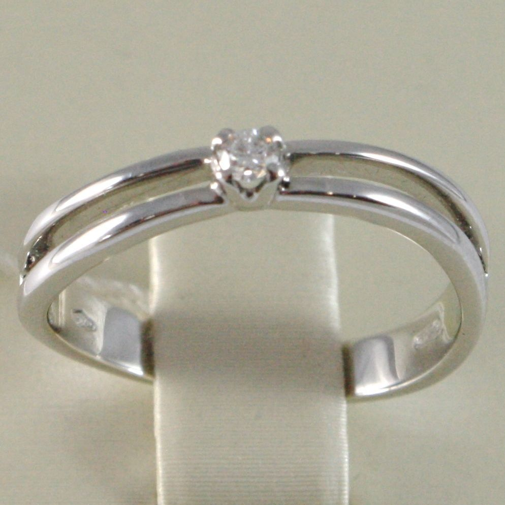 WHITE GOLD RING 750 18K, SOLITAIRE RAIL WITH DIAMOND, CARAT 0.06