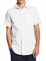 vkwear Men's Classic Button Up Curved Hem Short Sleeve Solid Dress Shirt White