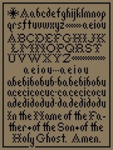 Hornbook Sampler primitive monochrome PDF cross stitch chart John Shirley - $5.00