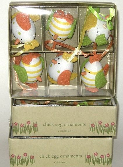 Lot of 18 Pier 1 Imports Chick Easter Egg Ornaments