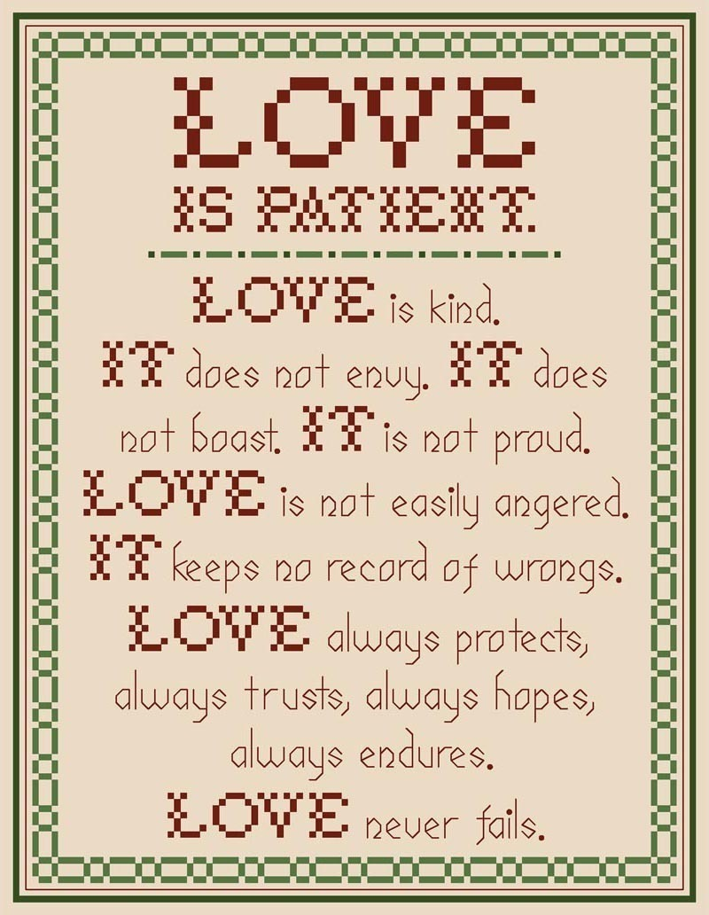 Love is Patient PDF cross stitch chart John Shirley new designer