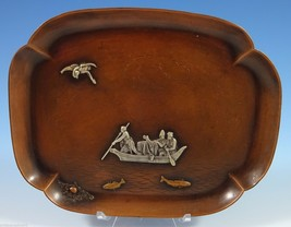 Mixed Metals by Gorham Sterling Silver Tray w/Fisherman Applied Bird Fish #1104 - $1,628.10