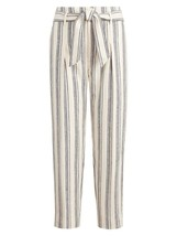 Lauren Ralph Lauren Pinstriped Cropped Linen-Blend Pants, Ivory, Size 8 - $49.49