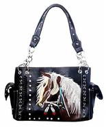 Western Dales Pony Horse White Mane Embroidery Feather Conceal Carry Wom... - $43.55
