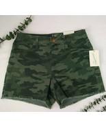 Universal Thread Denim Camo Shorts Frayed Cuff NEW Camouflage High Rise ... - $15.30