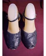 Navy Blue Peeptoe Sling Back Shoes;Flat-Braided Cord Wedge-Size 7m;Vinta... - $9.99