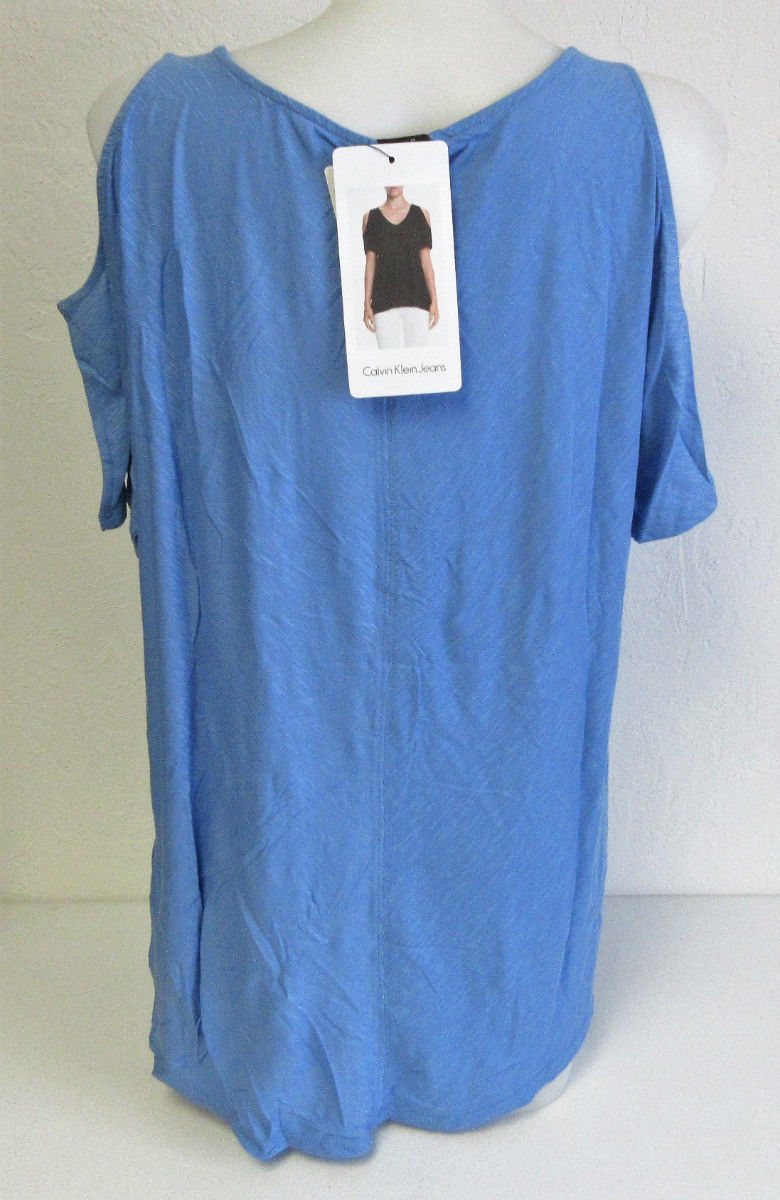 Calvin Klein Jeans Ladies' Cold Shoulder Short Sleeve Top--X-Large Blue Bonnet