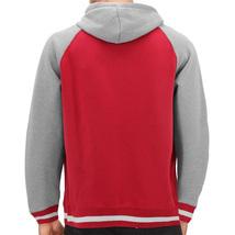 Men's Fleece Varsity Sweatshirt Letterman Sports Raglan Button Up Hoodie Jacket image 3