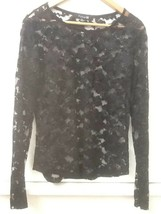 Forever 21 Sheer Black Long Sleeve Floral Sparkly Mesh Blouse Top Size L... - $18.95