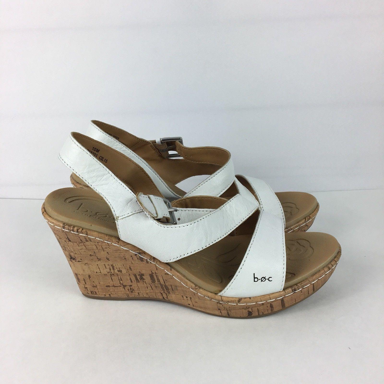 "212f7264b1dea BOC Born Concept ""Schirra"" Sz 10 White Leather Wedge Sandal Shoe Heel Cork"