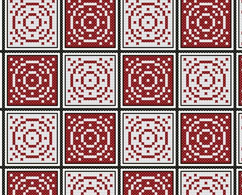 Vintage Redwork Gameboard PDF cross stitch chart John Shirley new designe
