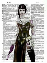 Art N Wordz Star Wars Princess Leia Warrior Original Dictionary Sheet Po... - $24.99