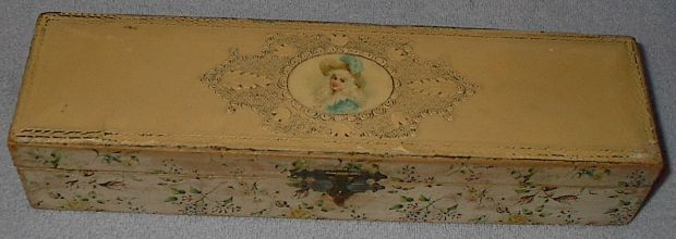 Antique Ladies Celluloid Vanity Dresser Glove Box