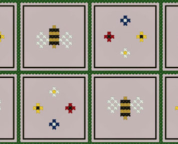 Bees and Flowers Gameboard PDF cross stitch chart John Shirley new designer