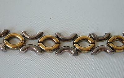 Vintage Link Bracelet Italy Kiss Hug  X O Sterling Silver Gold Vermeil Panel