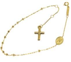 Mini Armband Gelbgold 18K 750,Rosenkranz,Überqueren,Medaille Wundertätig... - $152.76