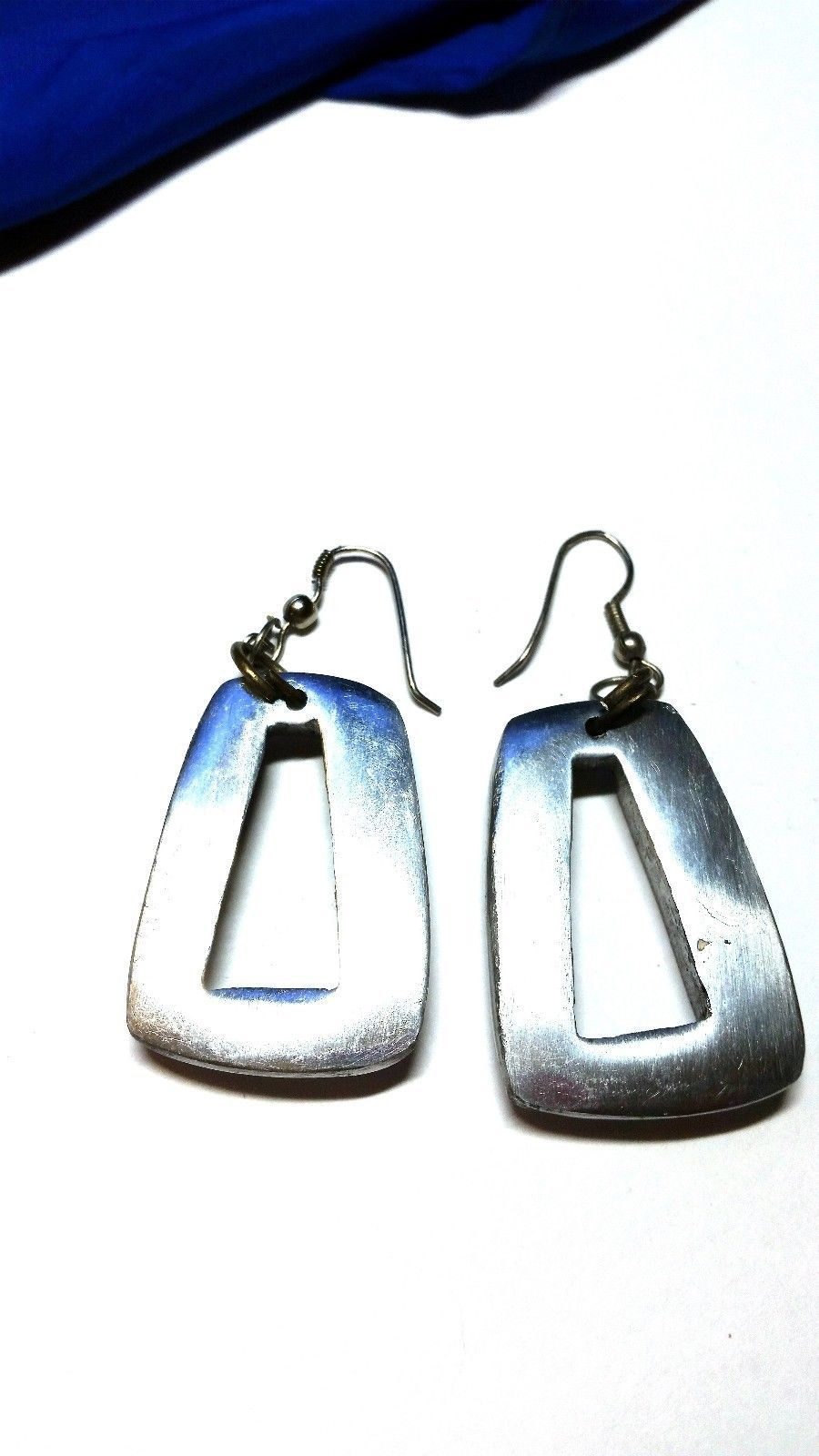 Vintage Modernistic Silver Tone Abstract Pierced Fishhook Earrings