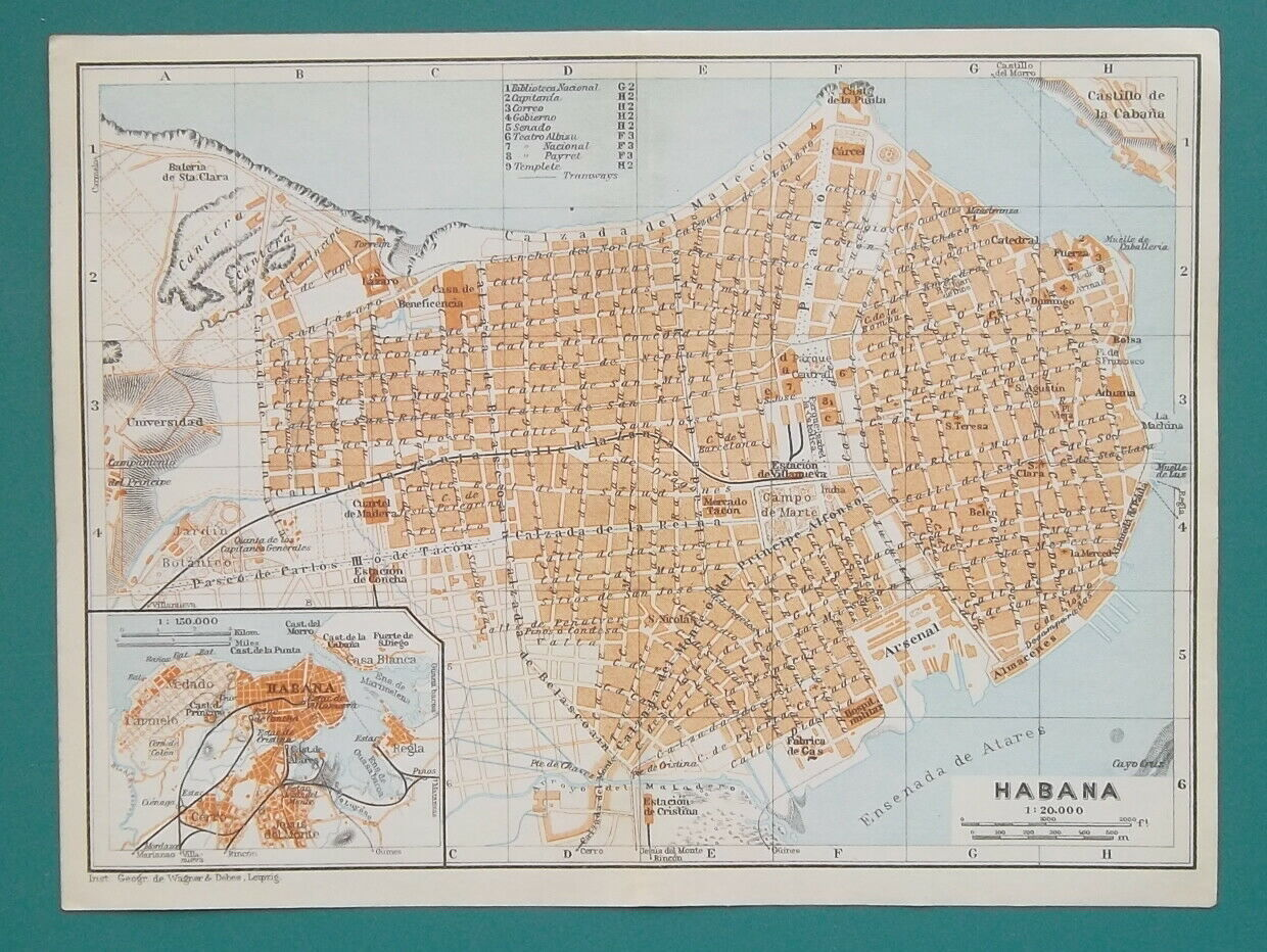 "Primary image for HAVANA Habana Town Plan Cuba - 1909 MAP Baedeker 6 x 8"" (15 x 20 cm)"