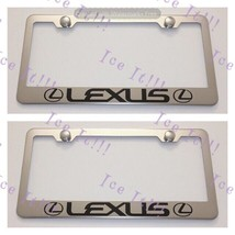 2X LEXUS With Logos Stainless Steel License Plate Frame Rust Free W/ Caps - $22.76