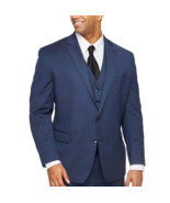 Shaquille O'Neal XLG Blue Solid Big/Tall Fit Stretch Suit Jacket Size 54... - $89.99