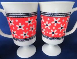 Orange & Navy Blue Flower Pedestal Mugs - $14.00