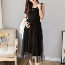 Maternity Dress Solid Color O Neck Sleeveless Tulle Dress image 2