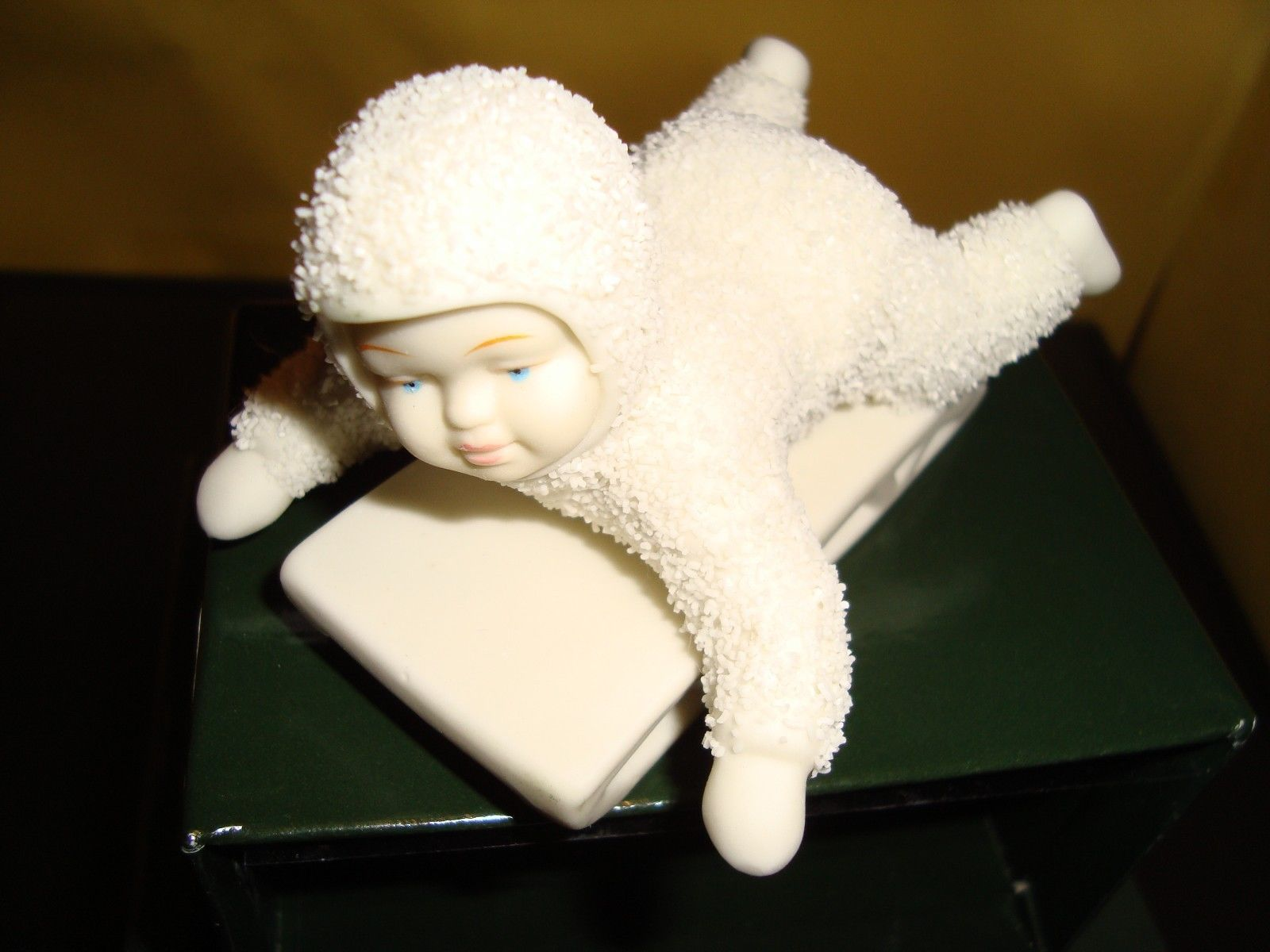 "Primary image for Dept. 56 Snowbabies ""Hold On Tight""  Snowbaby on Sled Figurine Ex Condition"